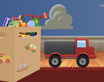 Jocuri cu camionul ce transporta jucarii